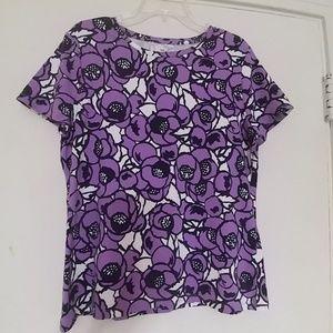 TALBOTS Purple Floral Knit Top L